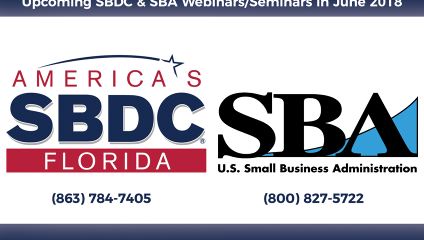 Upcoming SBDC & SBA Webinars/Seminars in June 2018
